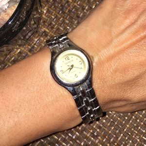 GENEVA Silver Link And Yellow Face Watch